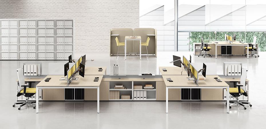Scrivania operativa per uffici moderni 5th element di las for Mobili ufficio moderni