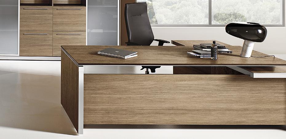 Arredamento studio eos di las mobili design minimalista for Scrivanie direzionali di design