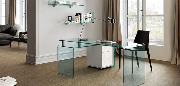 Rialto glass desk Fiam